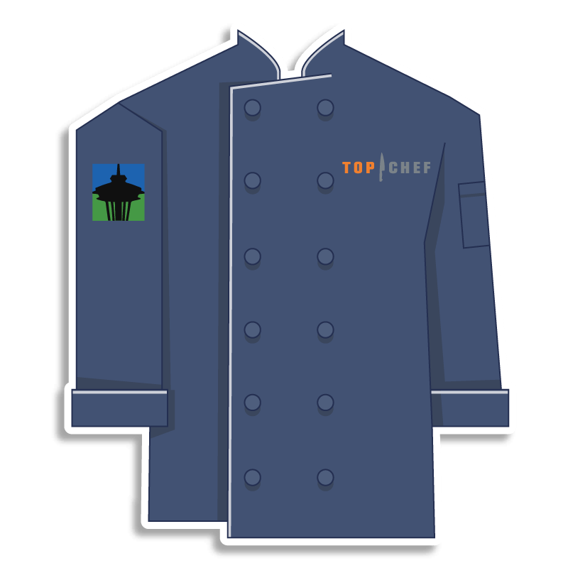 blue Top Chef chef coat with space needle on the shoulder