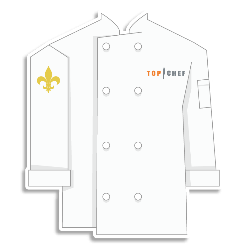 white Top Chef chef coat with fleur de lis on the shoulder