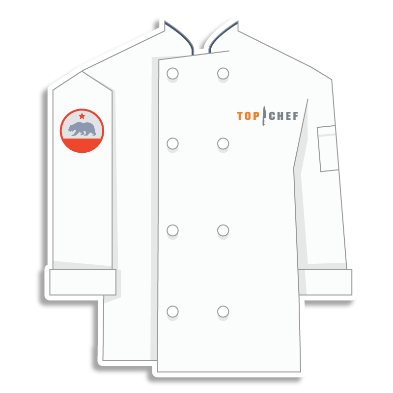 white Top Chef chef coat with a bear on the shoulder