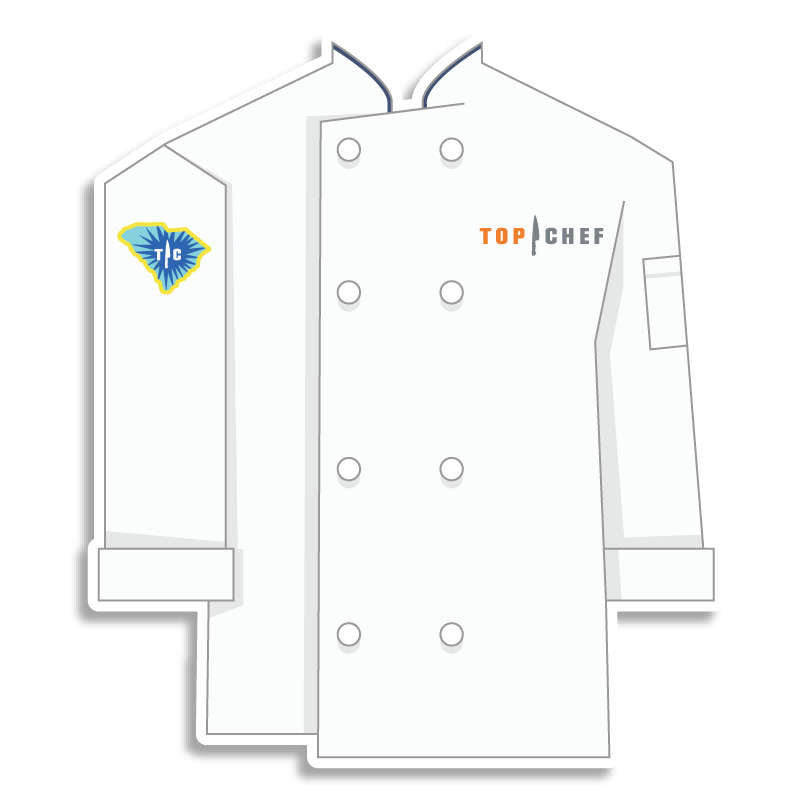 white Top Chef chef coat with S.C. on the shoulder
