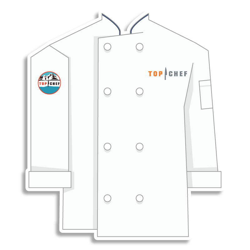 white Top Chef chef coat with mountains on the shoulder