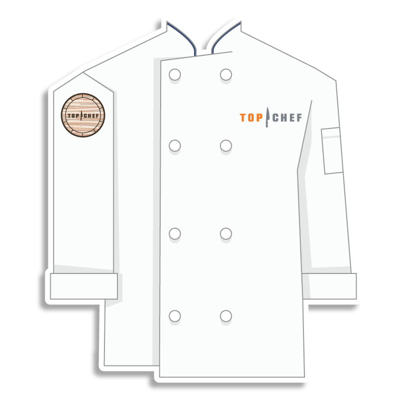 white Top Chef chef coat with whiskey barrel on the shoulder