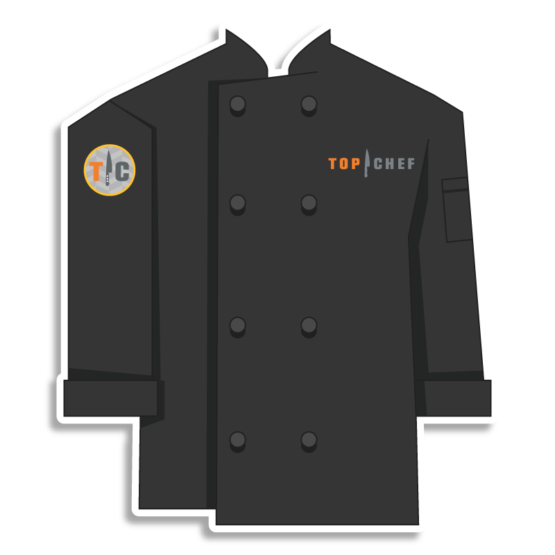 black Top Chef chef coat with knife emblem on the shoulder