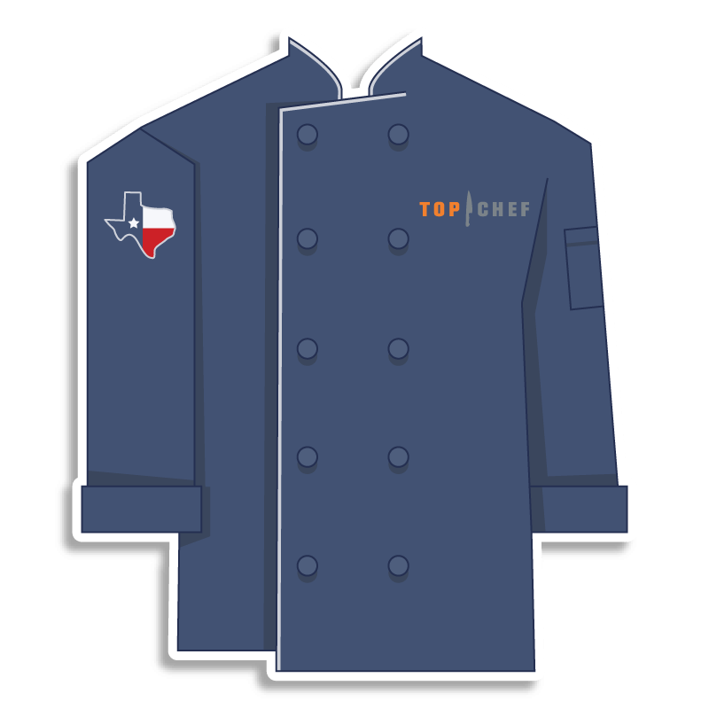 blue Top Chef chef coat with texas on the shoulder